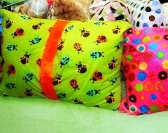 Pillow case, sham: Minky standard pillow 20 x 24 inch, gorgeous green or soft pink ladybug minky with satin trim