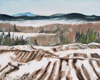 """Art Original Plein Air Landscape Oil Painting Impressionist Appalachian Eastern Townships Quebec Canada By Fournier """"Melting On The Field"""""""
