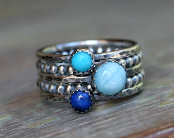 Larimar Stacking Rings, Sterling Silver Stackable Rings, Turquoise, Lapis Lazuli and Larimar Cabochon, Set of Five Rings, Smooth & Bead Band