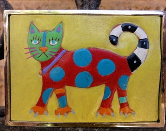 Belt Buckle with Polka Dot Cat