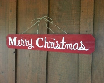 Merry Christmas Sign Hanging Ornament Welcome Sign Gift Lawn Sign Reclaimed Wood Signs. Hand Painted Sign Home and Garden Christmas Decor