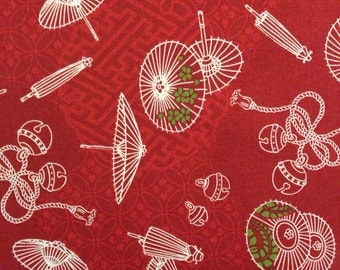 Japanese wagara quilt cotton yardage Red Parasols QWR1010 14E