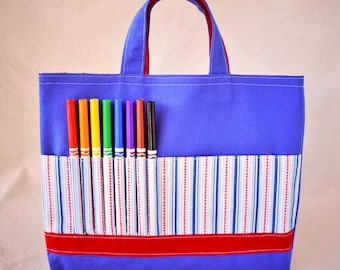 Coloring Tote Crayon Bag Crayon Tote READY To SHIP ARTOTE in Play Ball Clearance