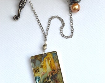 By the Ocean. Vintage mermaid collage on sterling necklace with seahorse and pearls