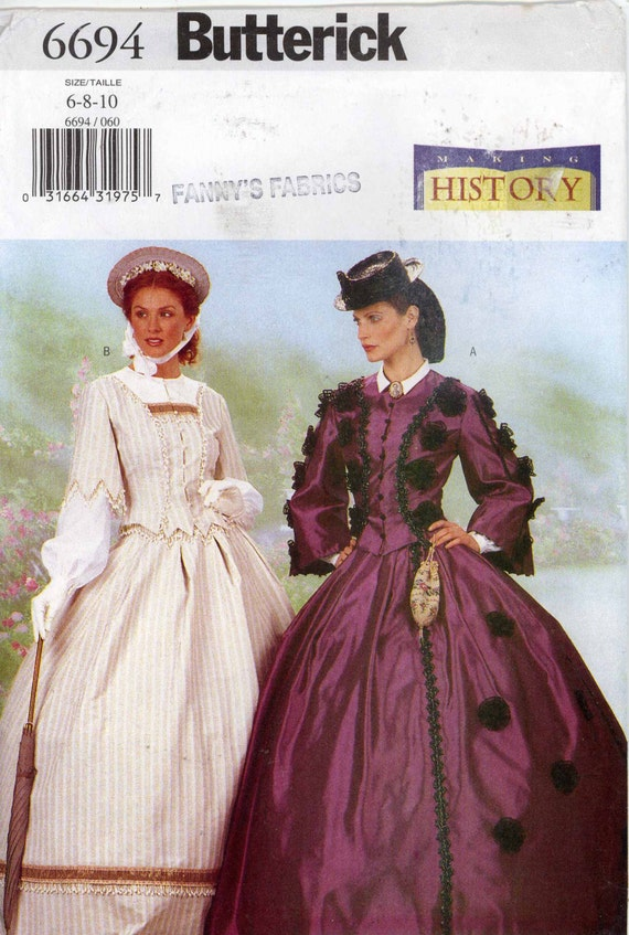 Frankly Scarlett dress Historical costume or Southern wedding pattern or civil war style dresses Butterick 6694 Sz 6 to 10 Uncut