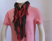 Repurposed/Recycled Red and Black Ruffled Scarf Neckace  Handmade by FashionGreenTBags