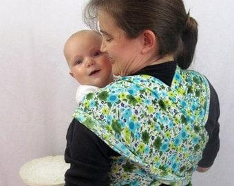 Gauze Baby Wrap - Aqua Floral Woven Cotton Non-stretchy Wrap Carrier - includes DVD