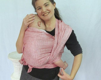 Woven Baby Wrap - Pure Linen Rose Jacquard - Lightweight - Size 4, 5, or 6