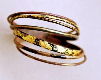 Handcrafted Bangle Set - 'Freya' - Toned Enamel Bracelets