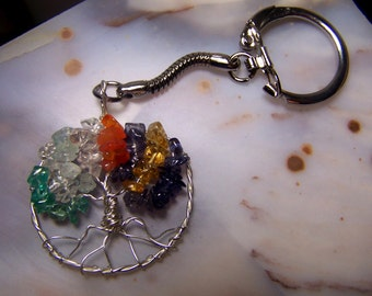 Family Tree Birthstone Keychain - Tree of Life Great Grandmother Grandfather father gift Mother in law Sterling Silver Personalized jewelry