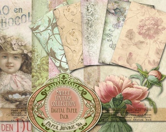 Sweet Vintage -  Digital Paper Pack #1 - BUY Any 3 Three Dollar Digital Items Get 1 Free