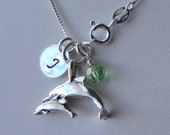 Sterling Silver Personalized Dolphin with Calf Necklace, Birthstone Necklace, Initial Necklace, New Mom Gift, New Mom Mother Necklace