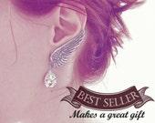 Angel Wing Earrings Swarovski Crystal Drop Earrings Clip On Earrings ear climbers Swarovski Bridal Earrings Wedding Earrings gift for women