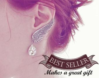 Ear Crawler wedding earrings angel wing clip earrings statement earrings Swarovski Crystal Earrings Clip On Bridal Earrings gift for women