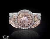 Peach Morganite Engagement Ring, Round Morganite Engagement Ring, Diamond Contoured Wedding Band, Diamond Halo Engagement Ring - LS2243
