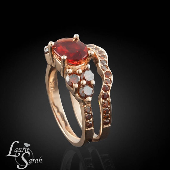 Wedding Ring Set, Red Andesine 14kt Rose Gold Wedding Set with Fancy Brown Diamonds and Contoured Wedding Band - LS2090