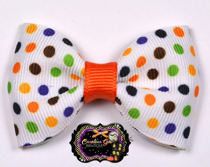 "Halloween Dots 2.5"" Hair Bow Tuxedo Bow Simple Bow Boutique Bow for Babies Toddlers Girls Hair Bows"
