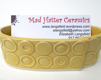 Yellow Deeply Textured Circle Handmade Ceramic Pottery Business Card Holder - Mod Print