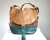 NEW///Mini Lizzy//in Rare Vintage Carpet with Brown and Green Leather and Adjustable Strap