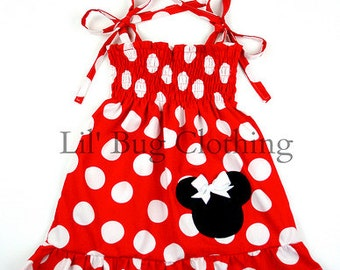 Custom Boutique Clothing Minnie Mouse Smocked Red White Jumbo Dot Dress