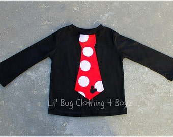 Custom Boutique Clothing Boys  Mickey  Mouse Long Sleeved Black Knit Polka Dot  and Red Jumbo  Dot Tie Tee