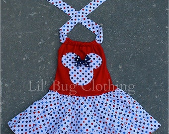4th of July Minnie Mouse Dress, Red White Blue Minnie Mouse Dress, Minnie Mouse Party Dress, Minnie Mouse Girls Outfit