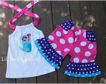 Little Mermaid Outfit, Little Mermaid Short & Halter Top, Disney Princess Short Set, Custom Boutique GIrl Outfit,