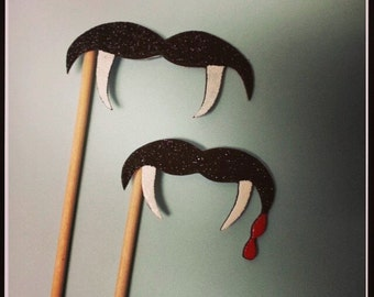 Vampire Mustache with Fangs on a Stick Set of 2, Vampire Costume Accessory, Vampire Party, Mustache, Fangs, Mustache on a Stick, Party Favor