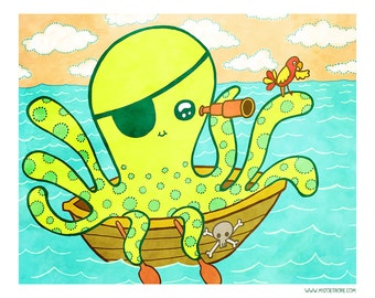 Pirate Octopus 8x10 or 5x7 Illustration Print