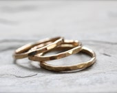 Heavy Gold Stacking Ring. Thick 14 Gauge Single Ring. Hammered Textured Simple Ring