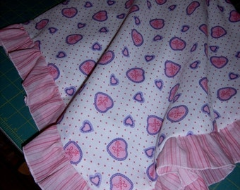 BABY BUGGY BLANKET - Pink and Purple Hearts - Ruffles