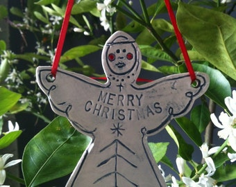 Porcelain Angel Christmas Tree or Gift Wrap Ornaments