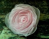 Sale- Wedding Flower Hair Clip Pale Pink Chiffon Rose