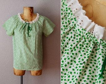 vintage 1970s CLOVER print blouse