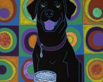 Labrador Art Print - Kandinsky Design MATTED Print by Angela Bond