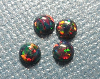 Black Rainbow Round Opal Cabochons - Set of 4 - 2mm 2.5mm