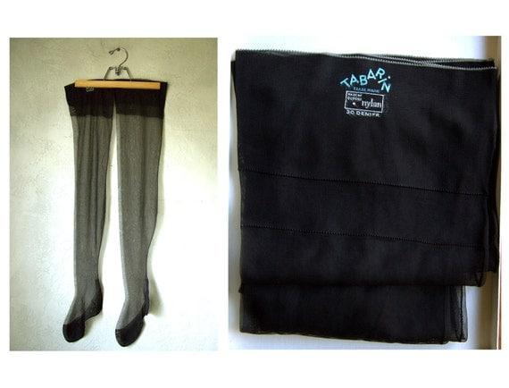 Vintage 50's Tabarin Black Sheer Thigh High Back Seam Stockings