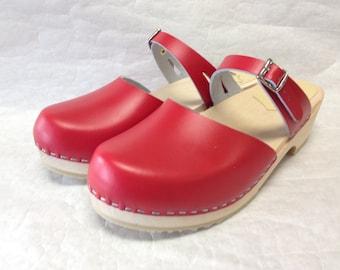 Red Dalanna sandal clog low heel
