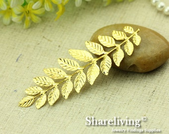5pcs LARGE Gold Long and Leafy Branch Stamping Charms / Pendant
