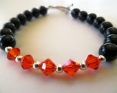 RESERVED for Janice - Two Tennis Bracelets and a Black Onyx and Orange Swarovski Crystal Beaded Bracelet