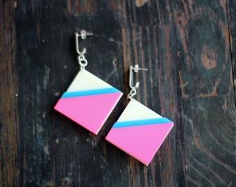 Neon Pink Geometric Earrings,Statement Earrings,Plexiglass Jewelry,Geometric Jewelry,Lasercut Acrylic