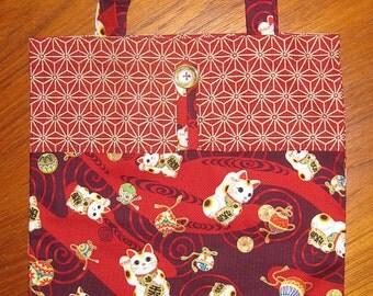 Tuck and Roll Fold-Up Portable Shopping Tote Maneki Neko Japanese Cat Design Brick Red