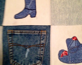 Vintage Blue Jean Quilt