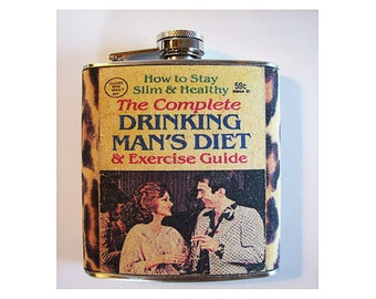 Drinking man's diet flask retro 1970's vintage sleaze leopard skin print hip flask kitsch