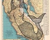 Siren-Archival Art Print-Mermaid, Atlas Art, Map Art, California,