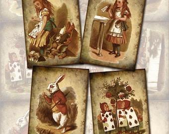 Alice In Wonderland- Primitive Vintage Art Hang/Gift Tags/Cards/Labels-INSTaNT DOWNLoAD -Printable Collage Sheet  JPG Digital File
