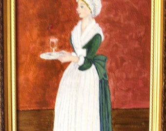 Afternoon Tea for Madam - Original Faux Colonial Folk Portrait 8 x 10 by Fran Caldwell