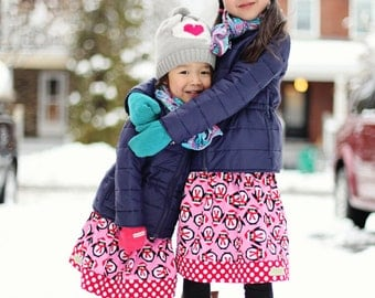 Girls Winter Penguins Christmas Holiday Skirt in Red and Pink - CUSTOM sizes 12 months to size 8