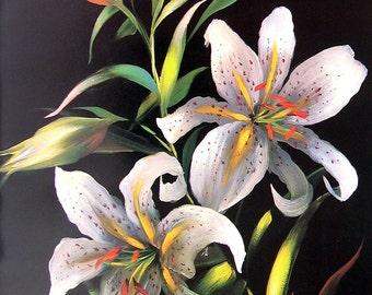 Tiger Lilies - Botanical Print - 1983 Vintage Book Page - 8.5 x 11 Flower Print