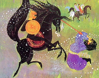 The Black Charger - Story from Spain - Colorful Children's Book Page - Vintage 1976